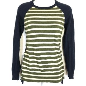 J CREW Black Label Wool Navy & Olive Sweater ~ XS